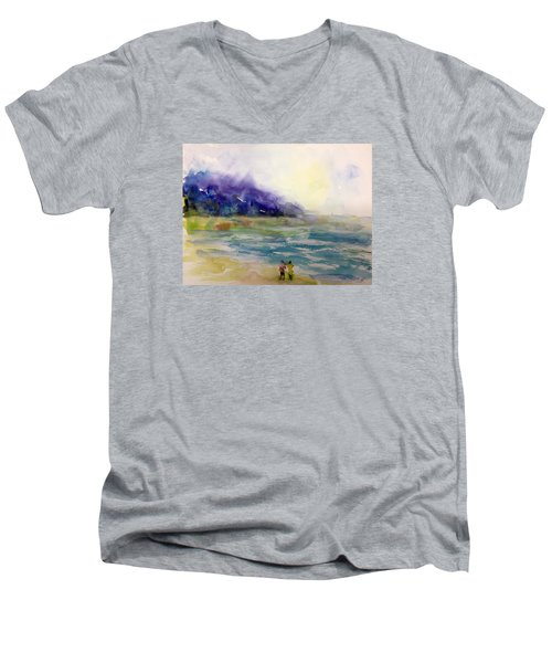 Hazy Beach Scene Men's V-Neck T-Shirt