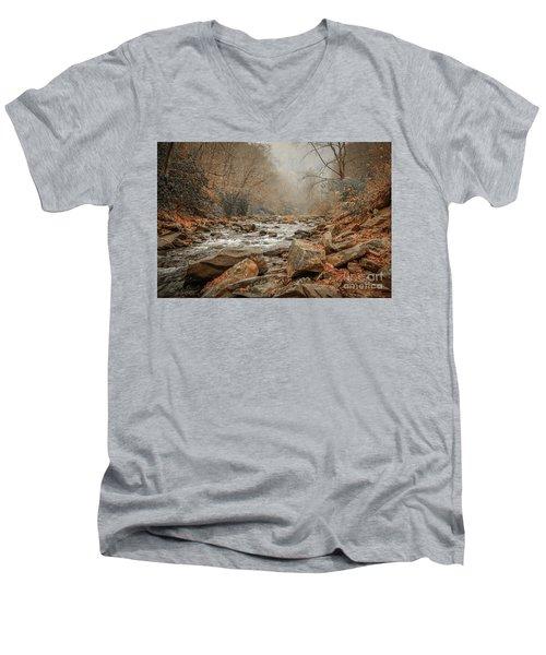 Hazy Mountain Stream #2 Men's V-Neck T-Shirt