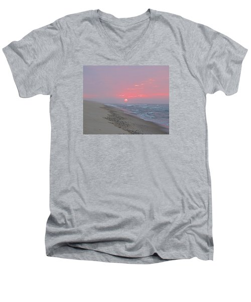 Men's V-Neck T-Shirt featuring the photograph Hazy Sunrise by  Newwwman