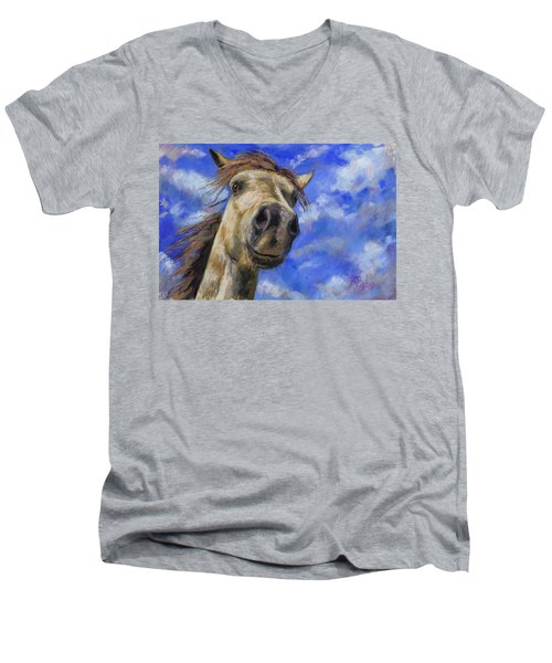 Men's V-Neck T-Shirt featuring the pastel Head In The Clouds by Billie Colson