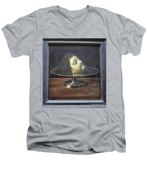 Men's V-Neck T-Shirt featuring the photograph Head Of John The Baptist, 1507, With Frame And Inscription -- By by Patricia Hofmeester