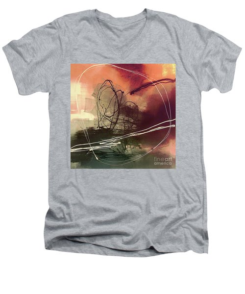 Men's V-Neck T-Shirt featuring the painting Head Of Psychology Rose by Tatiana Iliina