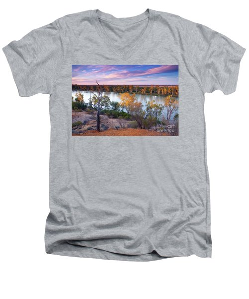 Heading Cliffs Murray River South Australia Men's V-Neck T-Shirt