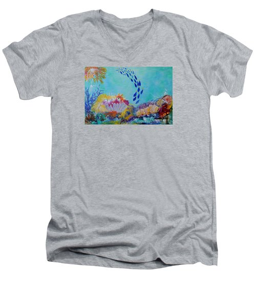 Heading For The Coral Men's V-Neck T-Shirt by Lyn Olsen