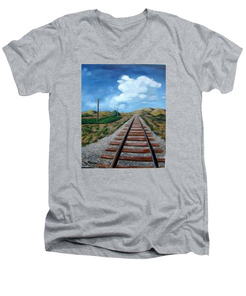 Heading West Men's V-Neck T-Shirt by Laurie Morgan