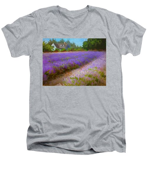 Impressionistic Lavender Field Landscape Plein Air Painting Men's V-Neck T-Shirt