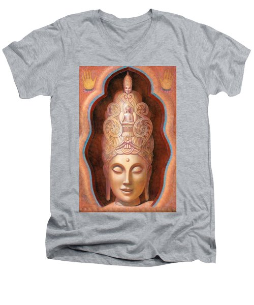 Men's V-Neck T-Shirt featuring the painting Healing Tara by Sue Halstenberg