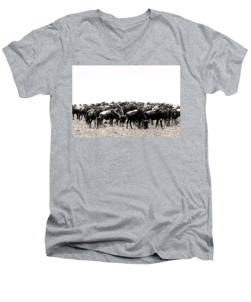 Herd Of Wildebeestes Men's V-Neck T-Shirt