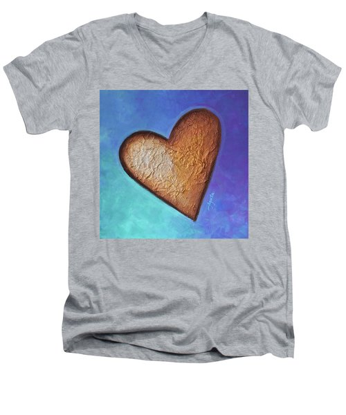 Men's V-Neck T-Shirt featuring the painting Heart by Agata Lindquist