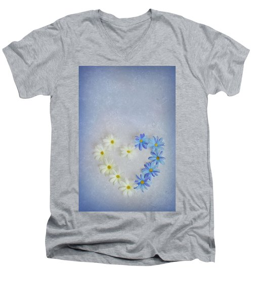 Heart And Flowers Men's V-Neck T-Shirt