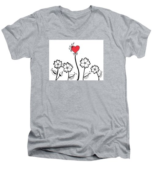 Heart Flower Men's V-Neck T-Shirt by Billinda Brandli DeVillez