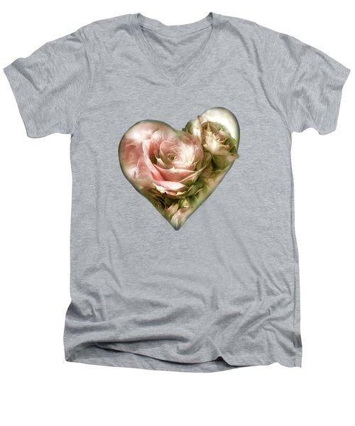 Heart Of A Rose - Antique Pink Men's V-Neck T-Shirt