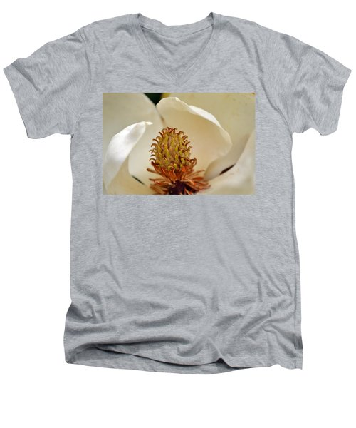 Men's V-Neck T-Shirt featuring the photograph Heart Of Magnolia by Larry Bishop