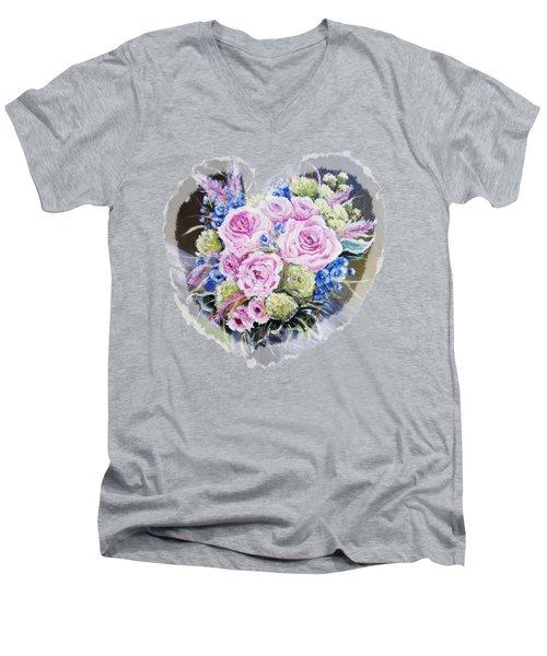 Heart Of Rose Men's V-Neck T-Shirt by Vesna Martinjak