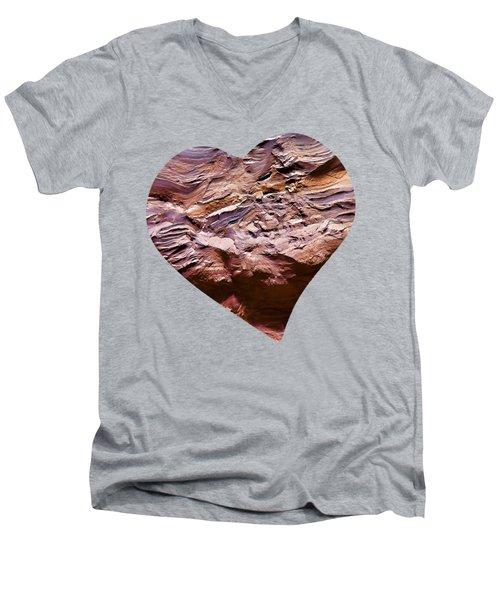 Heart Shape Stone Art Men's V-Neck T-Shirt