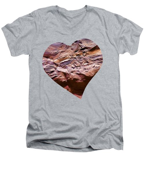 Heart Shape Stone Art Men's V-Neck T-Shirt