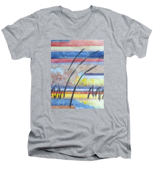 Heartbeat Men's V-Neck T-Shirt by Jacqueline Athmann