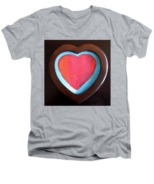 Hearts Afire Men's V-Neck T-Shirt