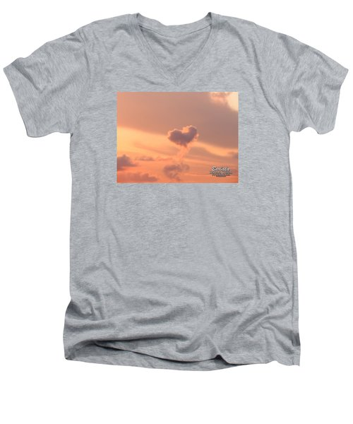 Men's V-Neck T-Shirt featuring the photograph Hearts In The Clouds by Barbara Tristan