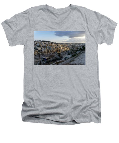 Heaven Shines On The City Of David Men's V-Neck T-Shirt