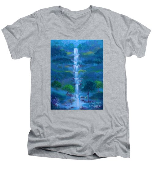 Men's V-Neck T-Shirt featuring the painting Heavenly Falls by Stacey Zimmerman