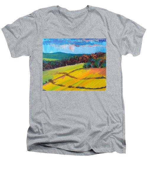 Heavenly Haldon Hills - Devon English Landscape Men's V-Neck T-Shirt