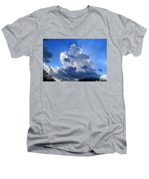 Men's V-Neck T-Shirt featuring the photograph Heavenly Sunlight by Kathryn Meyer