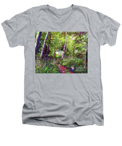 Men's V-Neck T-Shirt featuring the painting Heavenly Walk Among Birch And Aspen by Jane Small