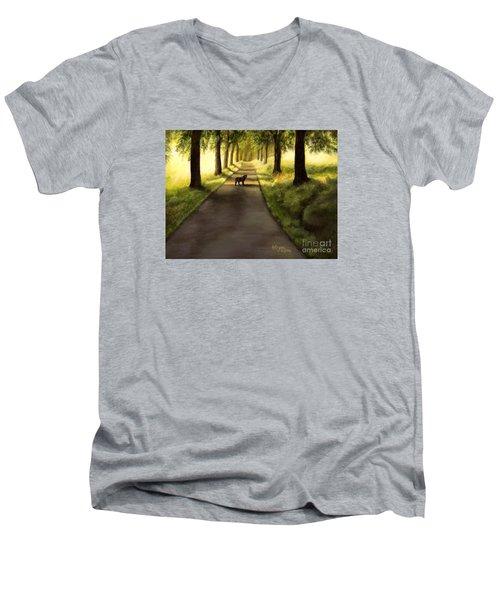 Serenity - Walk With Black Labrador Men's V-Neck T-Shirt