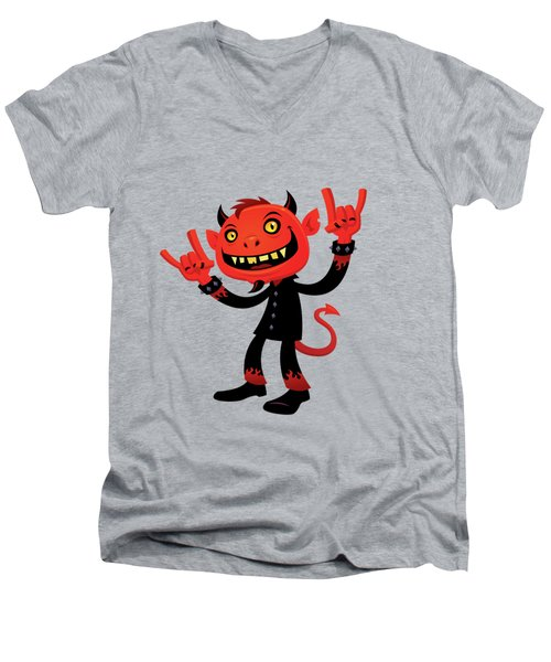 Heavy Metal Devil Men's V-Neck T-Shirt by John Schwegel