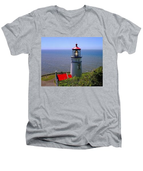 Heceta Head Lighthouse Men's V-Neck T-Shirt by Wendy McKennon