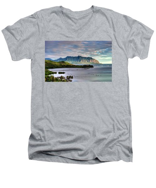 He'eia Fish Pond And Kualoa Men's V-Neck T-Shirt