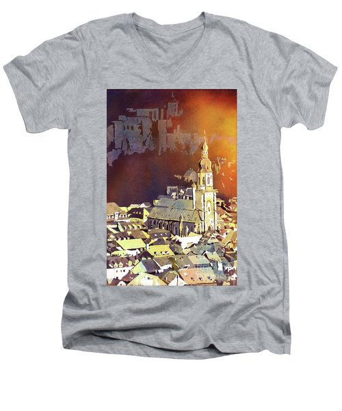 Men's V-Neck T-Shirt featuring the painting Heidelberg Sunset- Germany by Ryan Fox