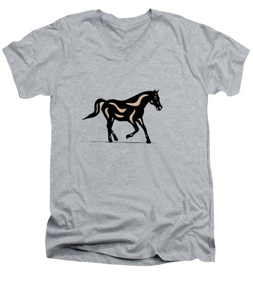 Heinrich - Pop Art Horse - Black, Hazelnut, Island Paradise Blue Men's V-Neck T-Shirt