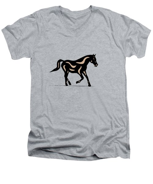 Heinrich - Pop Art Horse - Black, Hazelnut, Island Paradise Blue Men's V-Neck T-Shirt
