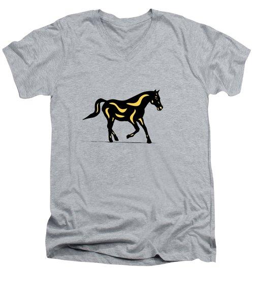 Heinrich - Pop Art Horse - Black, Primrose Yellow, Hazelnut Men's V-Neck T-Shirt