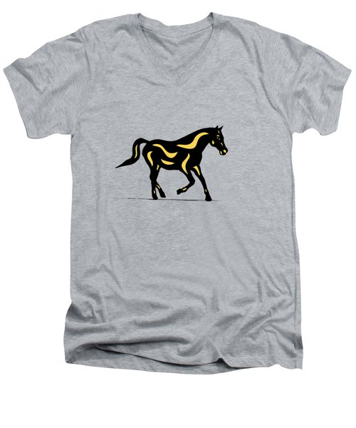 Heinrich - Pop Art Horse - Black, Primrose Yellow, Hazelnut Men's V-Neck T-Shirt