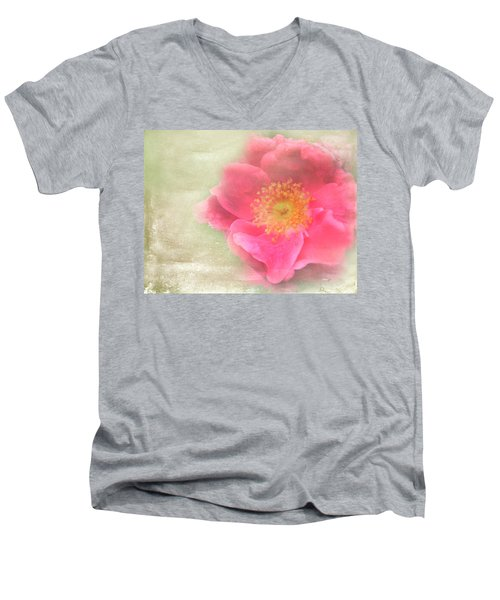 Heirloom Rose Men's V-Neck T-Shirt by Catherine Alfidi