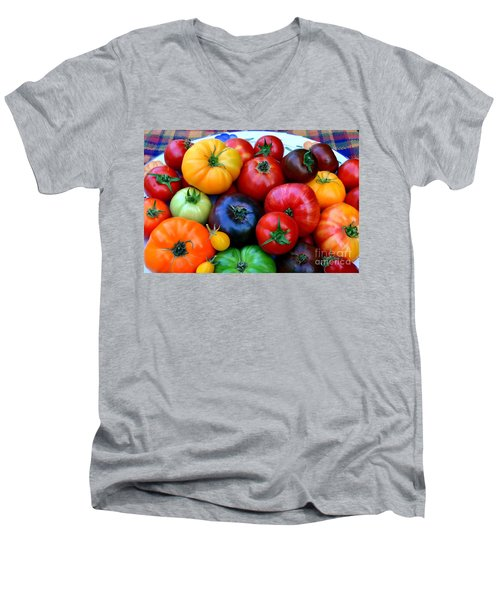 Men's V-Neck T-Shirt featuring the photograph Heirloom Tomatoes by Vivian Krug