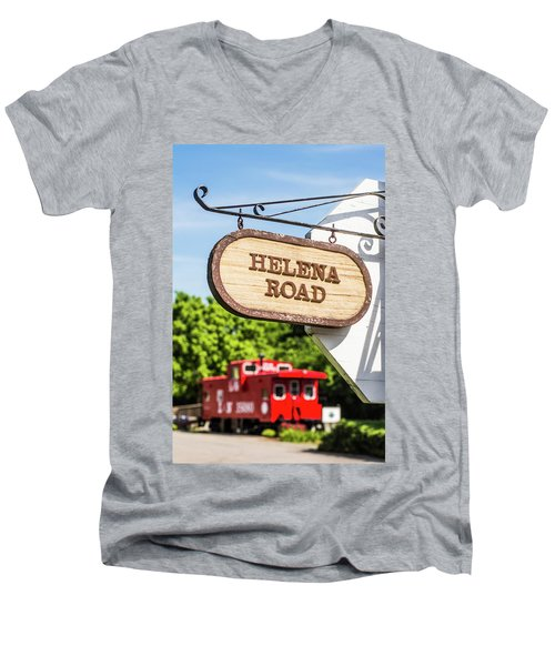 Men's V-Neck T-Shirt featuring the photograph Helena Road Sign by Parker Cunningham