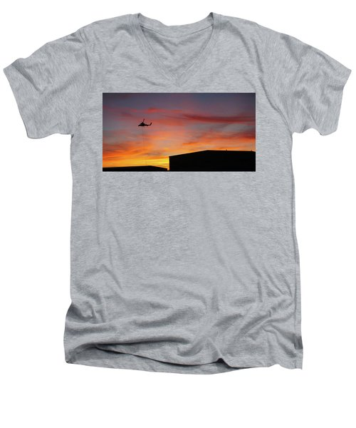 Men's V-Neck T-Shirt featuring the photograph Helicopter And The Sunset by Angi Parks