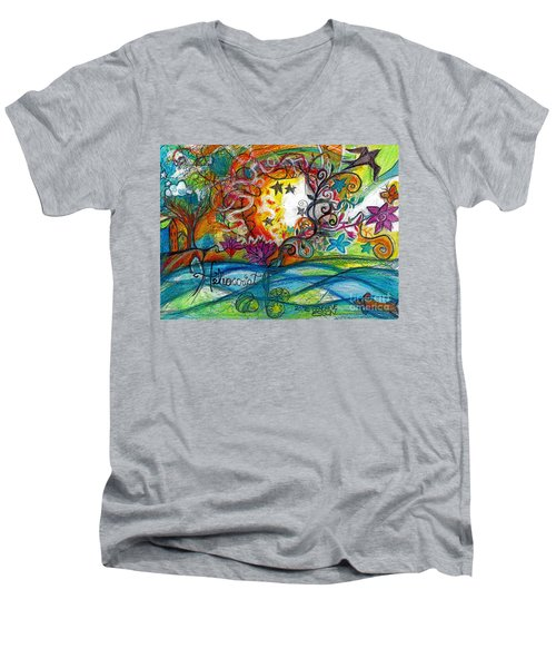 Men's V-Neck T-Shirt featuring the painting Helios And Ophelia Posterized by Genevieve Esson