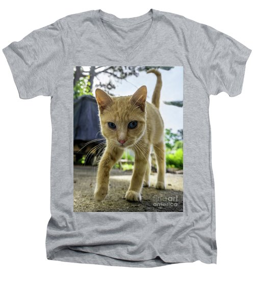 Men's V-Neck T-Shirt featuring the photograph Hello Beautiful 136b by Ricardos Creations