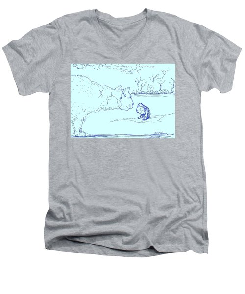 Men's V-Neck T-Shirt featuring the drawing Hello Birdie by Denise Fulmer