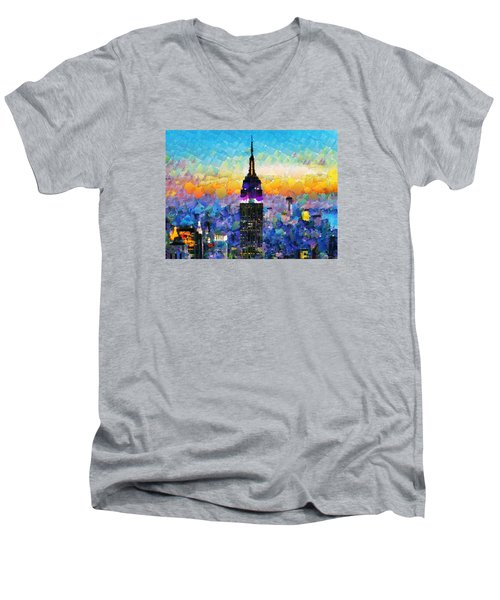 Hello New York Men's V-Neck T-Shirt by Sir Josef - Social Critic -  Maha Art