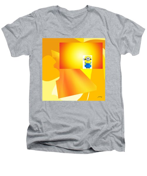 Hello Yellow Men's V-Neck T-Shirt by Jacquie King