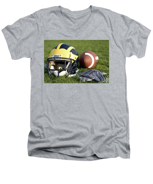 Helmet On The Field With Football And Gloves Men's V-Neck T-Shirt