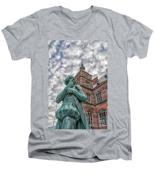 Men's V-Neck T-Shirt featuring the photograph Helsingor Train Station Statue by Antony McAulay