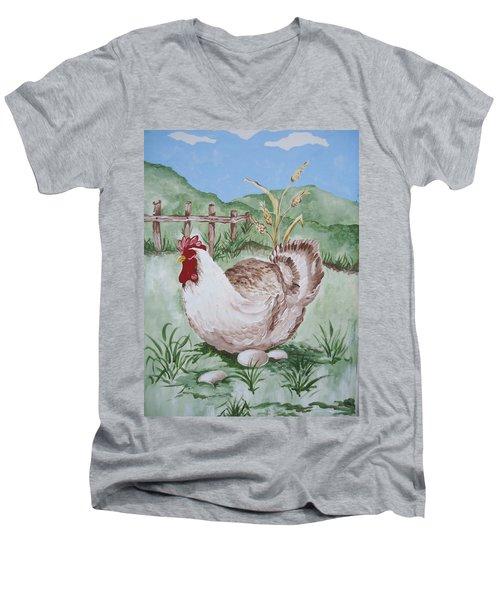 Hen And Eggs Men's V-Neck T-Shirt