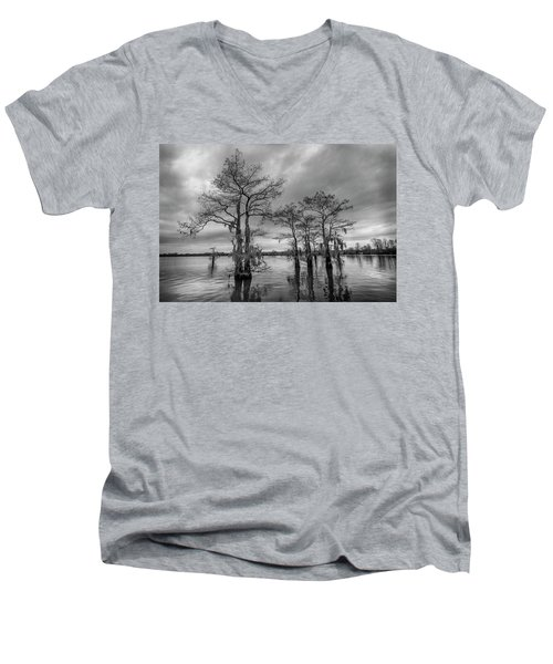 Henderson Swamp Wetplate Men's V-Neck T-Shirt by Andy Crawford